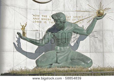 Spirit of Detroit statue in downtown Detroit. poster