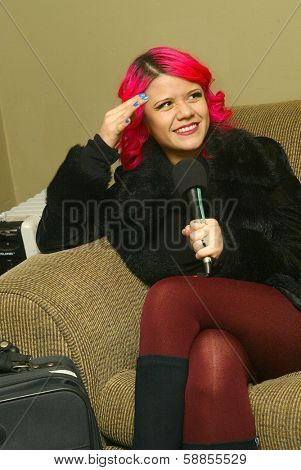 SOLANA BEACH, CA - JAN. 15: Allison Iraheta is interviewed backstage prior to her performance on January 15, 2014 at the Belly Up Tavern in Solana Beach, CA.