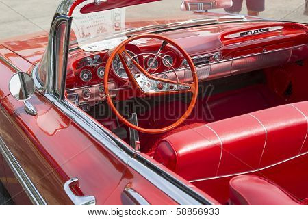 1959 Red Chevy Impala Convertible Interior