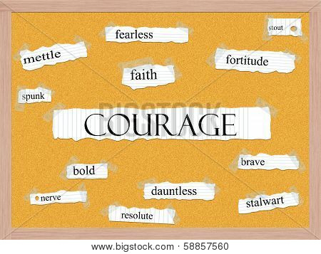 Courage Corkboard Word Concept