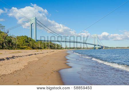 Staten Island beach and Verrazano-Narrows Bridge, NYC