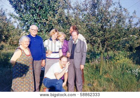 ANIELIN,,POLAND, CIRCA 1970s - Vintage photo (scanned reversal film) of multigenerational family outdoor