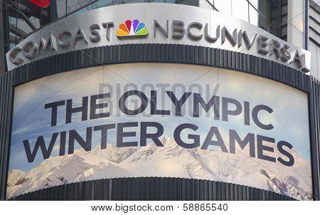 Comcast NBC Universal billboard promoting Sochi 2014 XXII Winter Games near Times Square