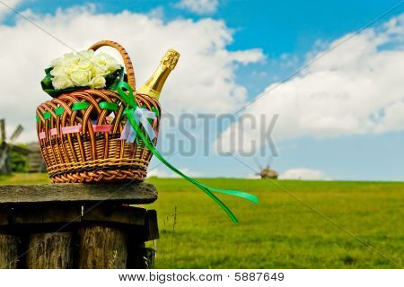 Beautiful Wedding Basket On Picnic