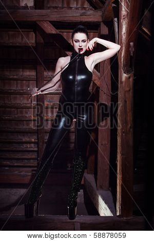 Beautiful Fetish Model With Whip