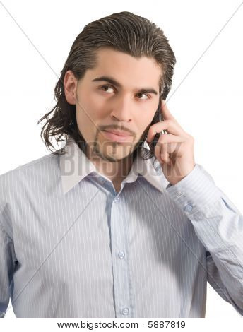 Young Handsome Male Talks On The Phone Isolated White