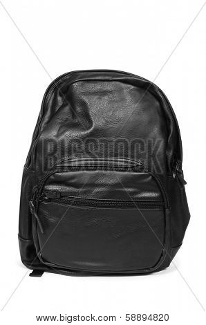 a black leather backpack on a white background