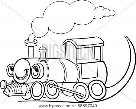 Cartoon Locomotive Or Engine Coloring Page