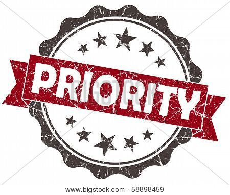 Priority Red Grunge Vintage Seal Isolated On White