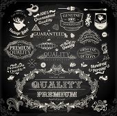 Vector set of calligraphic design elements: page decoration, Premium Quality and Satisfaction Guarantee Label, antique and baroque frames | Chalkboard background. Black illustration variant. poster