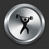 Weight Lift Icon on Metallic Button Collection poster