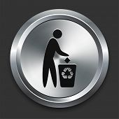 Recycle Trash Icon on Metallic Button Collection poster
