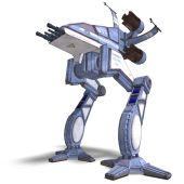 3D rendering of a futuristic transforming scifi robot and spaceship with clipping path and shadow over white poster
