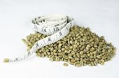 Pile of green coffee beans used in weight loss supplements with a white tape measure on top to imply weight loss. poster