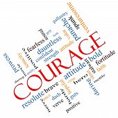 Courage Word Cloud Concept Angled with great terms such as strength gallantry bold and more. poster
