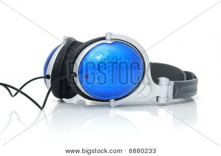 Stereo headphones for listening of qualitative music poster