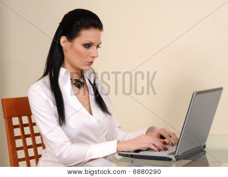 Successful Young Businesswoman With Laptop Computer In The Office.