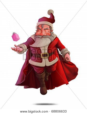 Santa Claus Super Hero - White Background