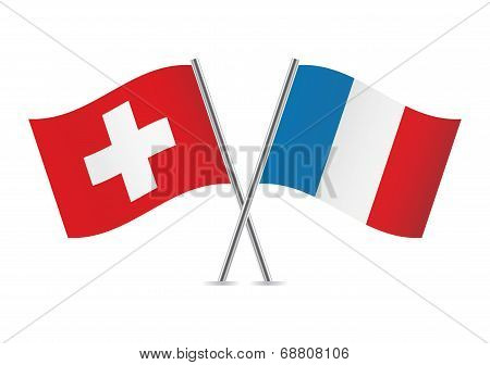 Switzerland and French flags. Vector illustration.