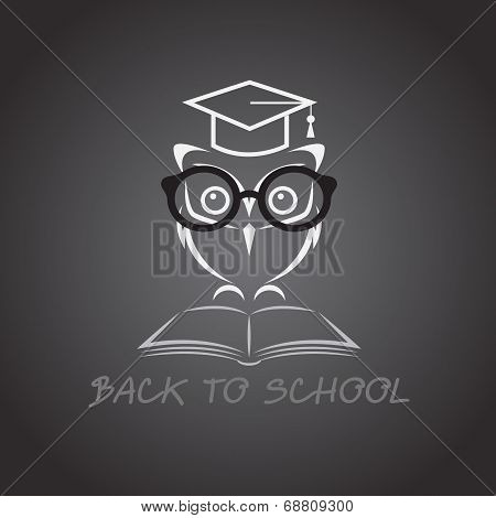 Vector image of an owl glasses with college hat and book poster