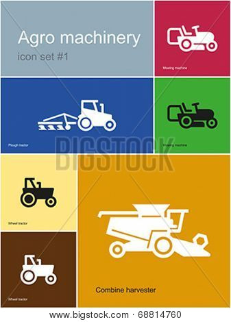 Agro machinery in set of Metro styled icons. Editable vector illustration.