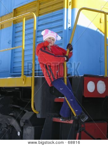 Girl On  Footboard Of Locomotive