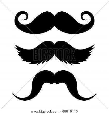 Set of Mustache on White Background. Vector