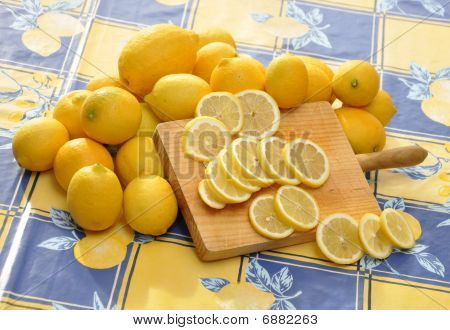 Lemons and cutting board
