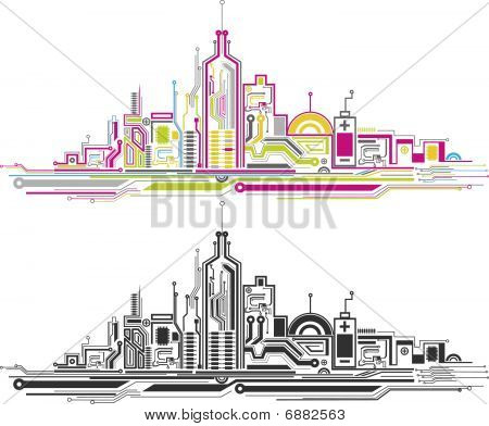 Modern circuit board city view