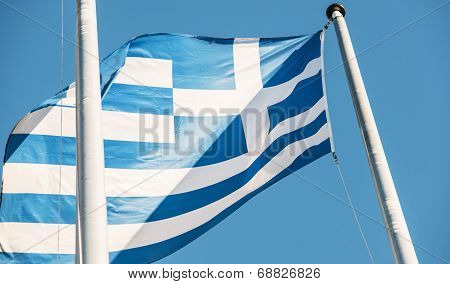 Greece Flag In Fron Of European Parliament Building