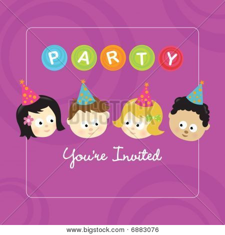 Party invitation w/ kids (mixed nationalities)