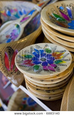 Hand Painted Dishware At An Open-air Market In Baja California