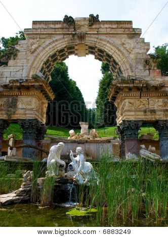 Old Fountain In Park Of Schonbrunn Palace In Vienna. Austria