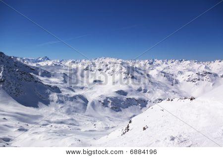 Alpine ski resort winter landscape