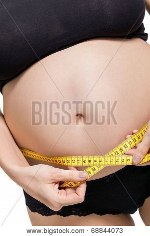 Pregnant Woman Measuring Her Abdomen