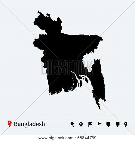 High detailed vector map of Bangladesh with navigation pins.