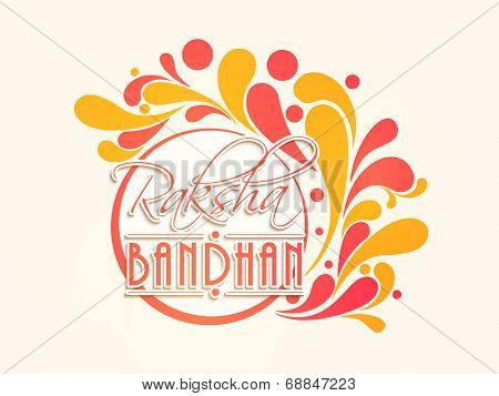 Beautiful sticky design decorated with red and yellow floral with stylish text Raksha Bandhan.