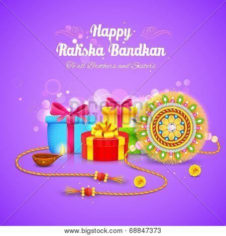 illustration of Raksha Bandhan background with rakhi and gift