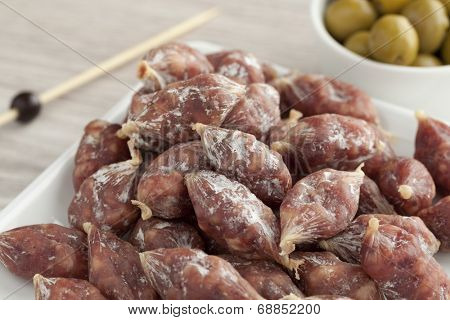 French dry mini saucissons poster