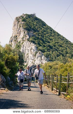 Happy Tourists On The Rock Of Gibraltar