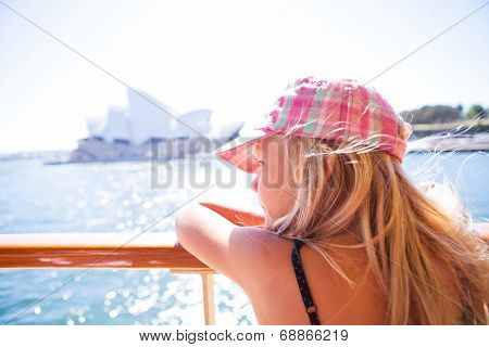 Young Girl Looking From Ferry In Sydney