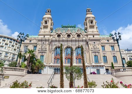 MONTE CARLO, MONACO - JULY 13, 2013: Facade of famous Salle Garnie - opened in 1879 gambling and entertainment complex designed by architect Charles Garnier includes Casino and Opera house.