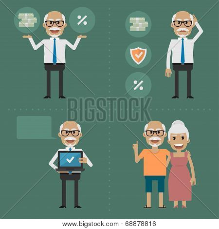 Illustration, older people, pension fund concept, format EPS 8 poster