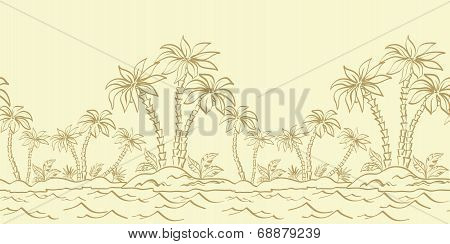Seamless pattern, island with palm contours