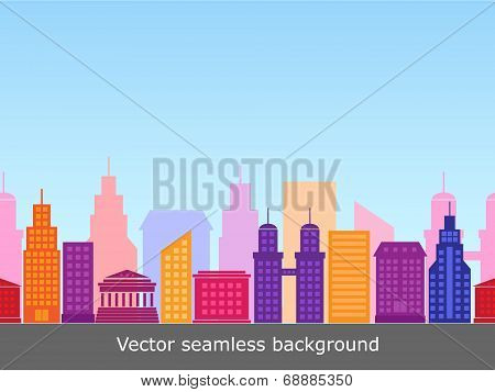 vector seamless background with colorful buildings