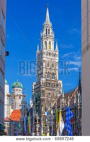 MUNICH, GERMANY - 19 JUNE 2014: The New Town Hall architecture in Munich, Germany. The New Town Hall built between 1867 and 1908 with an area of 9159 m2 represents Gothic Revival architecture style.