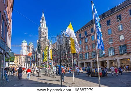MUNICH, GERMANY - 19 JUNE 2014: The New Town Hall architecture in Munich, Germany. The New Town Hall built between 1867 and 1908 with an area of 9159 m�² represents Gothic Revival architecture style.