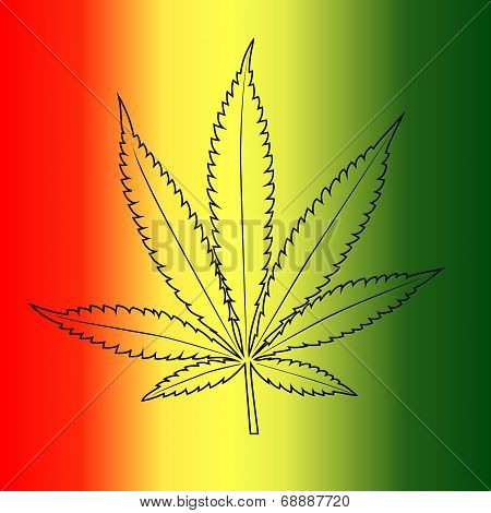 Vector cannabis leaf on rastafarian flag background.