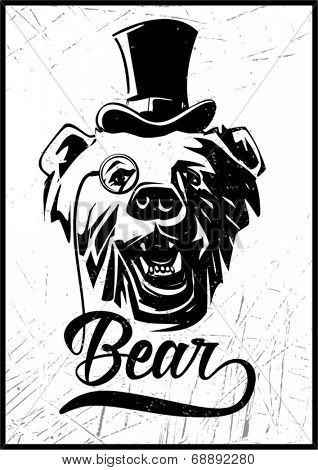 Bear. Vintage label for t-shirt print