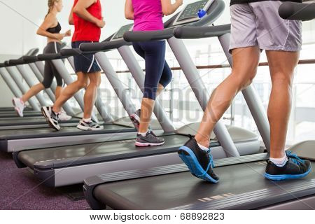 Row of people on treadmills at the gym